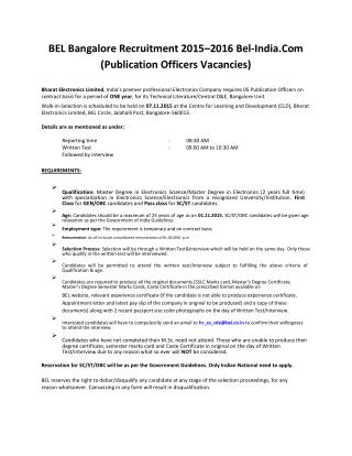 BEL Bangalore Recruitment 2015–2016 Bel-India.com (Publication Officers Vacancies)