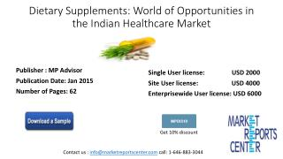 Dietary Supplements: World of Opportunitiesin the Indian Healthcare Market