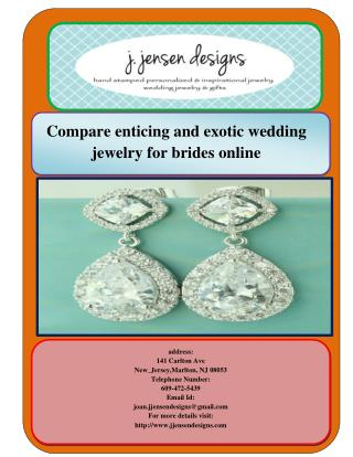 Compare enticing and exotic wedding jewelry for brides online