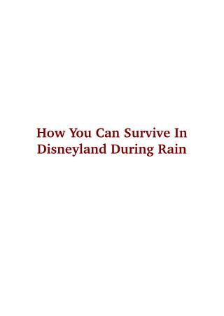 How You Can Survive In Disneyland During Rain