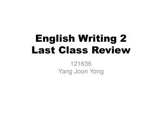 EW2 Lecture Review