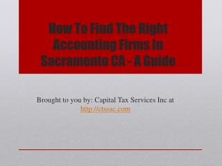 How To Find The Right Accounting Firms In Sacramento CA - A Guide