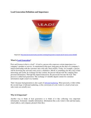 Lead Generation Importance and Definition