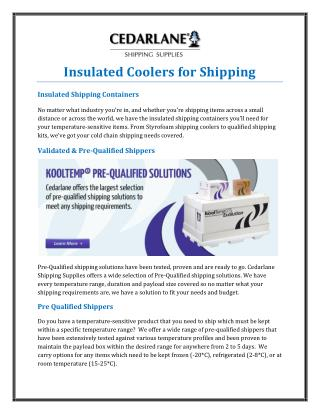 Insulated Coolers for Shipping