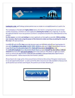 Job Searching Website - Login - Employement
