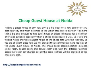 Cheap Guest House at Noida