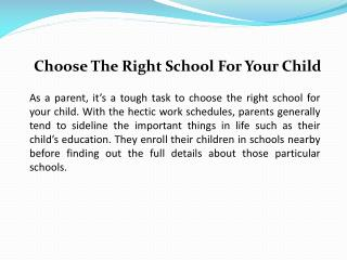 Choose The Right School For Your Child