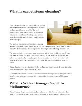 Water Damage Carpet Melbourne \ Steam cleaning