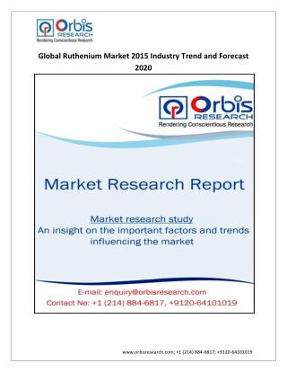 Ruthenium Market: Global Industry Analysis & Forecast To 2020