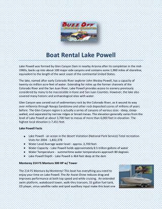 Boat Rental Lake Powell