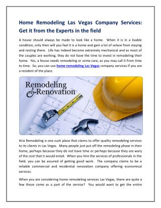 Home Remodeling Las Vegas Company Services: Get it from the Experts in the field