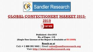 World Confectionery Market to Grow at 2.68% CAGR to 2019 Says a New Research Report