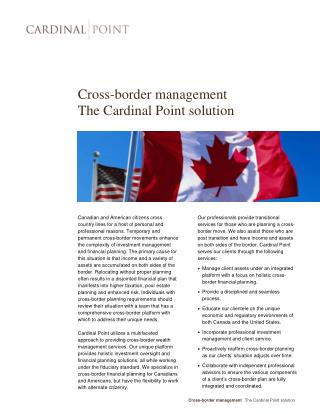 Cross-Border Management, The Cardinal Point Solution