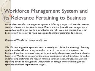 Workforce Management System and its Relevance Pertaining to Business