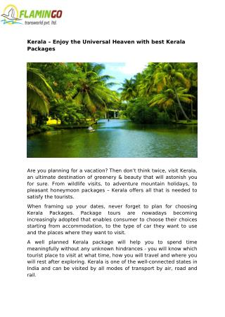 Kerala – Enjoy the Universal Heaven with best Kerala Packages