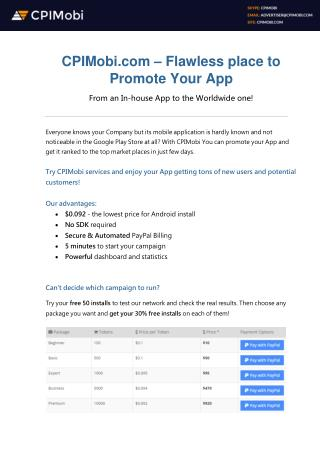 CPIMobi.com - Promote your Android & iOS Apps at the lowest price!