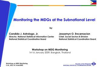 Monitoring the MDGs at the Subnational Level
