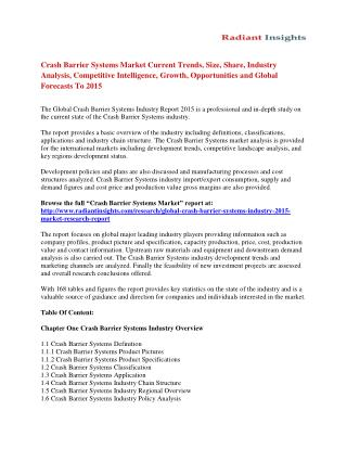 Crash Barrier Systems Market Share, Size, Trends, Growth, Competitive Strategies And Forecasts To 2015