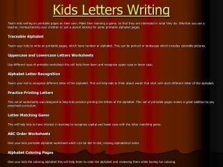 Kids Letter Writing