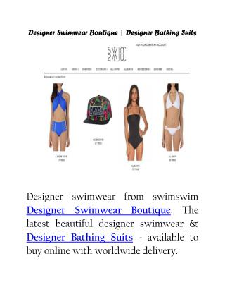 Designer Swimwear Boutique | Designer Bathing Suits