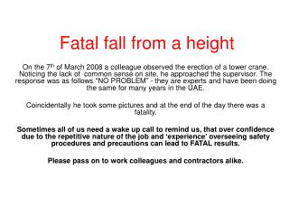 Fatal fall from a height