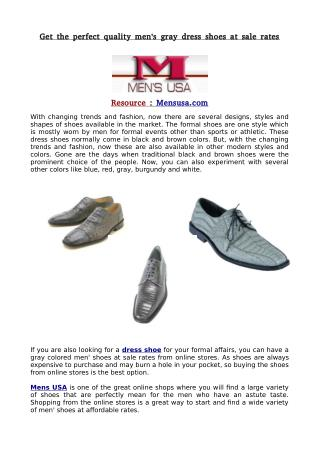 Get the perfect quality men's gray dress shoes at sale rates