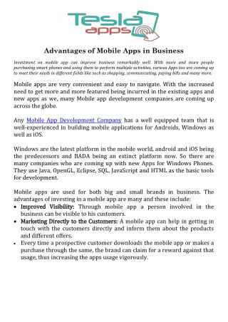 Advantages of Mobile Apps in Business