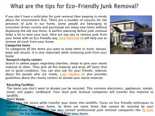 What are the tips for Eco-Friendly Junk Removal?
