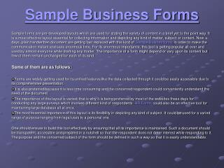 Sample Business Forms