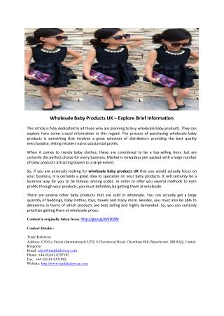 Wholesale Baby Products UK – Explore Brief Information