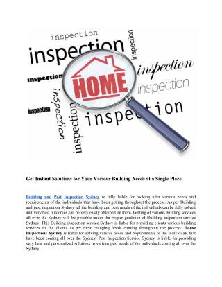 Building and Pest Inspection Sydney | Pre Purchase Building Inspection