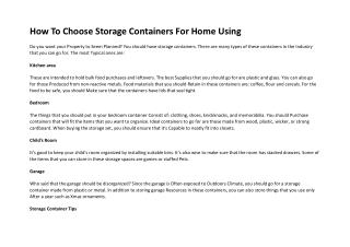 How To Choose Storage Containers For Home Using