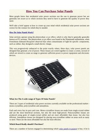 How Can Purchase Solar Panels