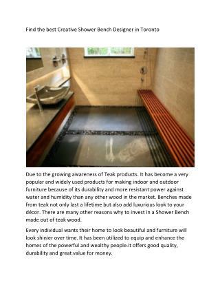 Best Creative Shower Bench Designer in Toronto