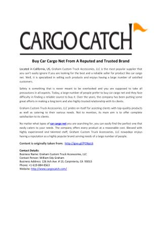 Buy Car Cargo Net From A Reputed and Trusted Brand
