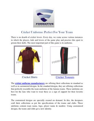 Cricket Uniforms Manufacturers Suppliers Australia