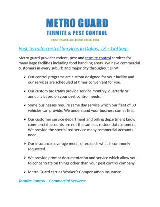 Best Termite control Services in Dallas, TX – Gotbugs