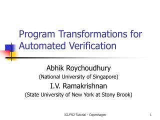 Program Transformations for Automated Verification