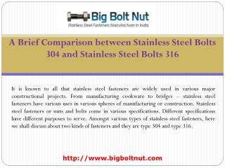 Stainless Steel Bolts 304 and Stainless Steel Bolts 316