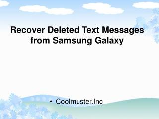 How to Recover Deleted Text Messages from Samsung Galaxy Note 2/3