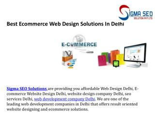 Best Ecommerce Web Design Solutions In Delhi