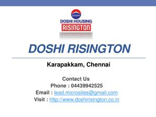 Doshi Risington - 1/2/3/4 BHK Flats - Karapakkam, Chennai - Call @ 04439942525 -For Price, Review, Payment Plan