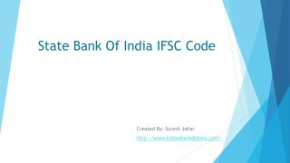 IFSC Code for State Bank Of India