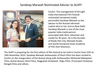 Sandeep Marwah Nominated Adviser to ALIIFF