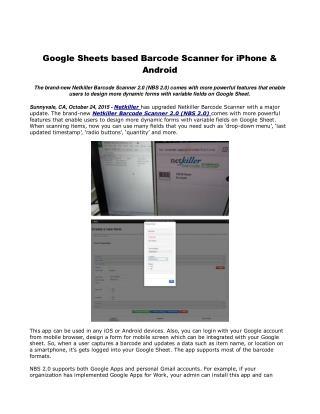 Google sheets based barcode scanner for iphone & android
