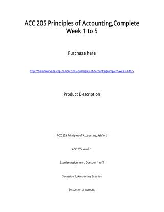 ACC 205 Principles of Accounting,Complete Week 1 to 5