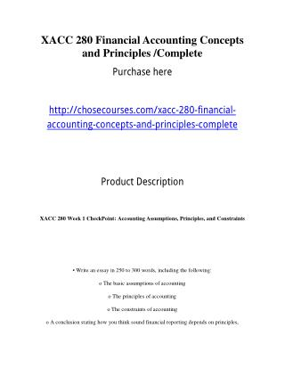XACC 280 Financial Accounting Concepts and Principles /Complete