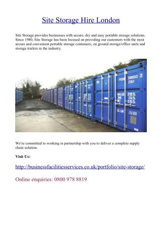 Site Storage Hire London