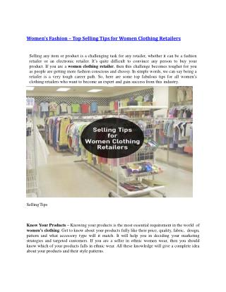 Women's Fashion – Top Selling Tips for Women Clothing Retailers