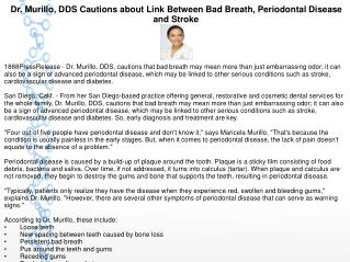 Dr. Murillo, DDS Cautions about Link Between Bad Breath, Periodontal Disease and Stroke